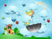 Fantasy landscape with village and flying umbrella and fishes. Vector illustration eps10 royalty free illustration