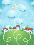 Fantasy landscape with village. Illustration Royalty Free Stock Images