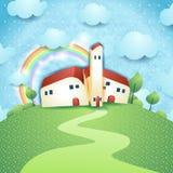 Fantasy landscape with village stock illustration