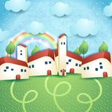 Fantasy landscape with village Royalty Free Stock Image