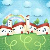 Fantasy landscape with village. Illustration Royalty Free Stock Image