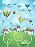Fantasy landscape with villages, balloons and flying fishes. Vector illustration eps10 stock illustration