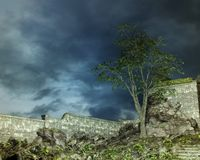 Fantasy landscape with wall Stock Images