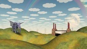 Fantasy Landscape and Winged Elephant Stock Photos
