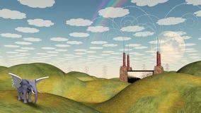 Fantasy Landscape Winged Elephant Stock Images