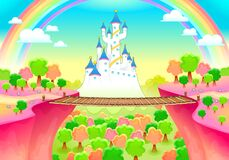 Free Fantasy Landscape With Castle And Bridge Stock Image - 181026131