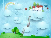 Free Fantasy Landscape With Clouds, Village And Stairways Royalty Free Stock Image - 140112856