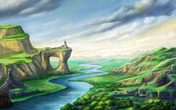 Free Fantasy Landscape With River Royalty Free Stock Photography - 114172857