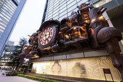 Fantasy large Clock designed by Hayao Miyazaki of Studio Ghibli in the Shiodome District, japan. Tokyo, Japan - Oct, 13, 2106 : Fantasy large Clock designed by stock photos