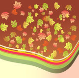 Fantasy leaves background. Fantasy falling leaves and circles composition card Royalty Free Stock Images