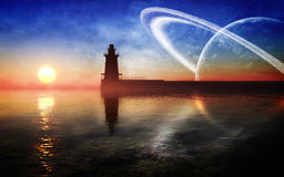 Fantasy Lighthouse Environment Stock Photography