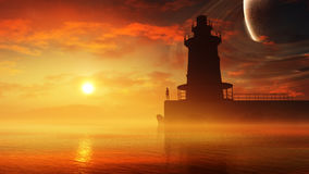 Fantasy Lighthouse Environment Stock Images