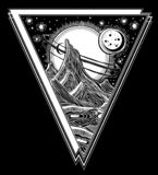 Fantasy alien landscape, vector space illustration stock illustration
