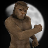 Fantasy lion man figure moon. Fantasy muscular lion / werewolf man figure in front of moon Stock Photo
