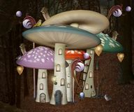 Elves houses in the shape of magic mushroom. Fantasy little elf village in the enchanted forest – 3D illustration royalty free illustration