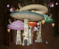 Elves houses in the shape of magic mushroom royalty free illustration