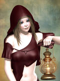 Fantasy Little Red Riding Hood Royalty Free Stock Photography