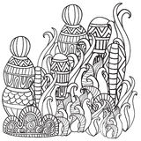 Fantasy magic forest. Pattern for coloring book. Black and white pattern. Sketch by trace. Zentangle Royalty Free Stock Photography