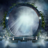 Fantasy magic portal. On water with candles and ivy