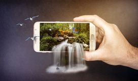 3d Waterfall on mobile Stock Photo