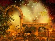 Fantasy magical forest scene stock illustration