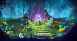 Fantasy and Magical Forest. Video Game`s Digital CG Artwork, Concept Illustration, Realistic Cartoon Style Background Stock Photo