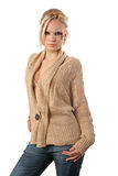 Fantasy make-up. A young pretty blond girl with a bright fantasy make-up dressed in a woolen cardigan Stock Images