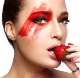 Fantasy Makeup. Painted Face. Strawberry Royalty Free Stock Photography