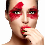 Fantasy Makeup. Painted Face. Strawberry Stock Photo