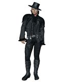 Fantasy male model 2. 3D render of a fantasy male model in a black outfit royalty free illustration