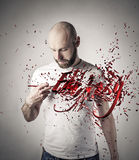 Fantasy. Man writing the word fantasy 3d letters Royalty Free Stock Photos