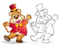 Fantasy mascot bear cartoon. Vector of mascot cute bear cartoon color and line art Royalty Free Stock Photos