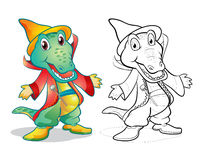 Fantasy mascot crocodile cartoon. Vector of mascot cute crocodile Fantasy cartoon color and line art Royalty Free Stock Images
