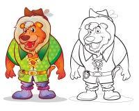 Fantasy mascot lion cartoon. Vector of mascot cute Lion Fantasy cartoon color and line art Stock Images