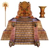 Fantasy Mayan throne and other items. 3D render of a fantasy Mayan throne, staff, and a vase vector illustration