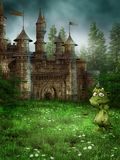 Fantasy meadow with a castle. Fantasy meadow with a fairytale castle and a cute green dragon royalty free illustration