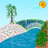 Fantasy meadow with daisies, flowers and green tree. River and b. Ridge, summer landscape. Vector illustration for children`s fairy tale Royalty Free Stock Photography