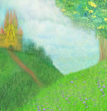 Fantasy meadow with a fairytale tower Royalty Free Stock Images