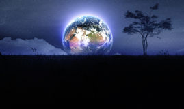 Earth In Fantasy Meadow Night Royalty Free Stock Image