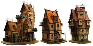 Fantasy medieval buildings. A group of fantasy buildings 3D illustration Royalty Free Stock Photo