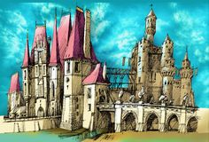 Fantasy medieval castle. Colored handmade sketch of fairytale historic castle Stock Photography