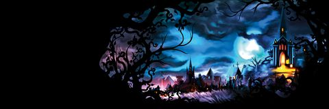 Fantasy medieval cityscape banner. Background with a fable old town with lights and a frame with branches royalty free illustration