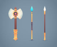 Fantasy medieval cold weapon set in flat-style Royalty Free Stock Images