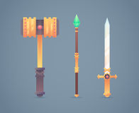 Fantasy medieval cold weapon set in flat-style Royalty Free Stock Image