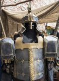 Fantasy medieval metal armor protective wear swordman Stock Photography