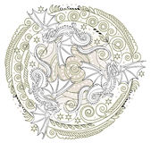 Fantasy medieval ornament with dragons, black and white image. Royalty Free Stock Photos