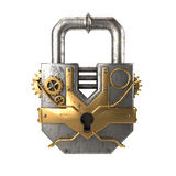 Fantasy metal padlock in steampunk style on isolated white background. 3d illustration Stock Photos