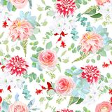 Fantasy mix of flowers and plants seamless vector pattern. Pink rose, peachy japanese and speckled red dahlia, succulents, peony, camellia, white freesia, red Royalty Free Stock Photo