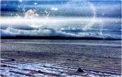 Fantasy. Moon Lake Frozen Finland Royalty Free Stock Photos