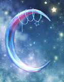 Fantasy moon and stars. A 3D rendered image of a fantasy moon background Stock Image